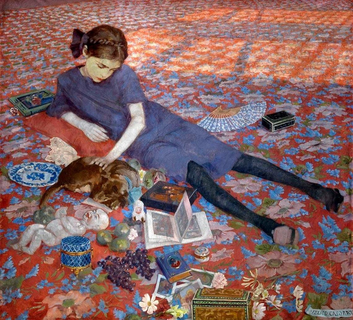 Felice Casorati, Bambina che gioca su un tappeto rosso