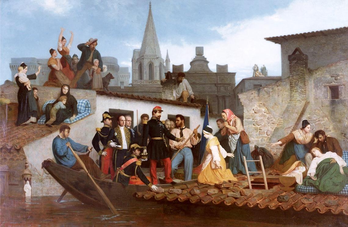 Napoleon III (1808-73) Visiting Flood Victims of Tarascon in June 1856, 1856 (oil on canvas)