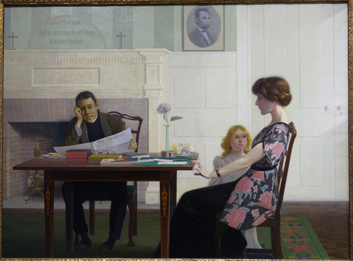 The_Drop_Sinister,_What_Shall_We_Do_with_It,_by_Harry_Willson_Watrous,_c._1913,_oil_on_canvas_-_Portland_Museum_of_Art_-_Portland,_Maine_-_DSC04341